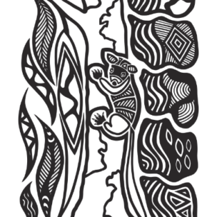 Colouring Sheet by Mick Harding – Walert Baban Ba Yilam (Possum in their gum tree home)